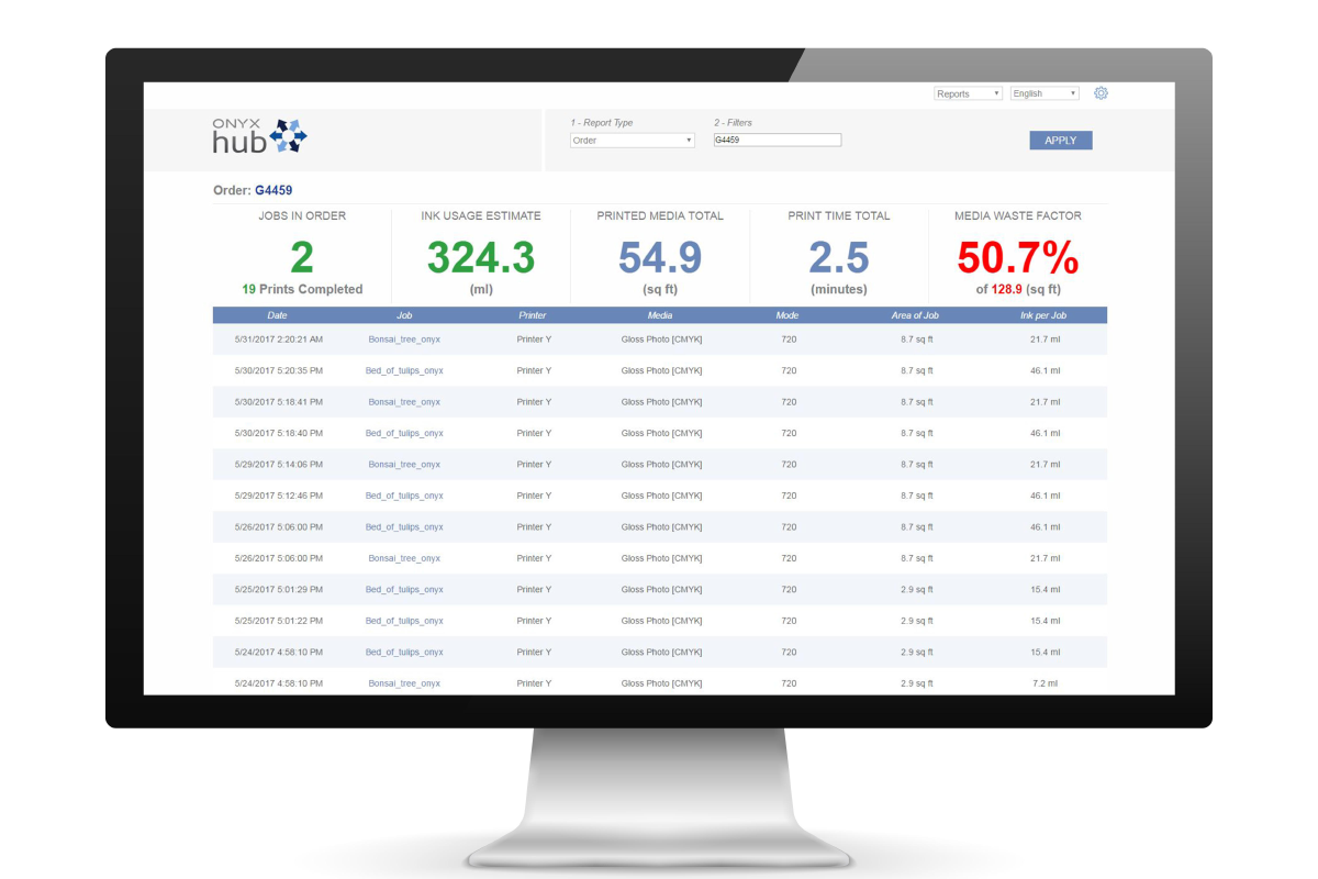 Onyx Hub allows you to drill down from site-wide data to job level