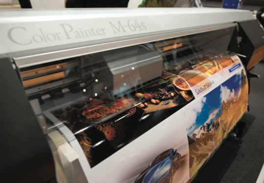 The Seiko ColorPainter M64S is one of the fastest solvent printers around. It uses a mild solvent that requires some ventilation.